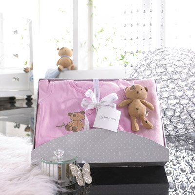 Izziwotnot Cherish 3 Piece Luxury Baby Gift Box Set, Rose, 6-9 Months from Izziwotnot
