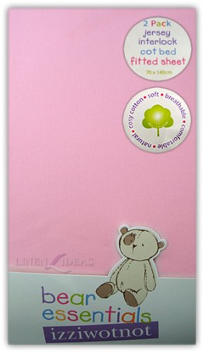 Izziwotnot Jersey Interlock Fitted Cot Bed Sheets (Pack of 2, Pink) from Izziwotnot