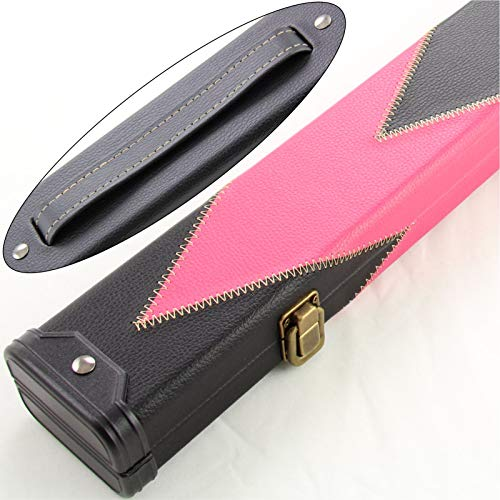 J8B PINK & BLACK ARROW 2pc Leather Patch Effect Snooker Pool Cue Case from J8B