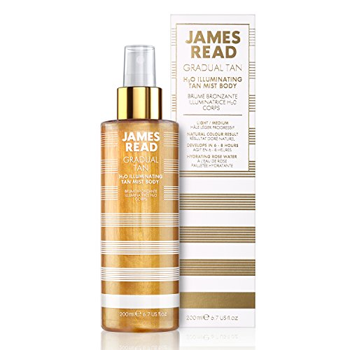 JAMES READ H20 Illuminating Tan Mist for Body 200ml LIGHT/MEDIUM Gradual Self Tan Natural Golden Glow Rose Water Tanning Mist Infused with 24K Gold Suitable for All Skin Tones from JAMES READ
