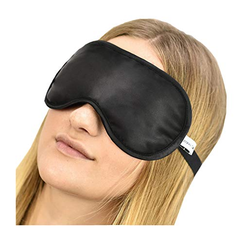 Jasmine Silk 100% Pure Silk Filled Eye Mask / Sleeping Mask Sleep Mask - BLACK from JASMINE SILK