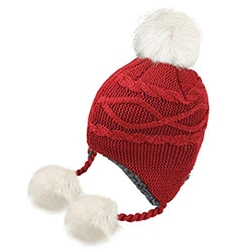 e196c613a60 Kids Toddlers Warm Beanie Hat with Ear Flap Girls Boys Winter Knitted  Fleece Hats Cute Thick