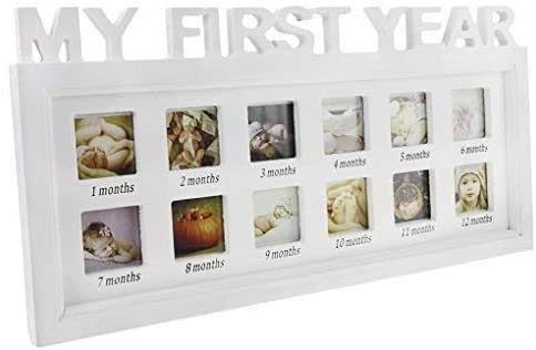Picture Frames,Baby My First Year Photos Frame Multi-Photo Photo Moments Keepsake Picture Frame Girls Boys Photo Impression Kit Album Newborn Baby Shower Frame Birthday Xmas Memories Christening Gift from JINTN