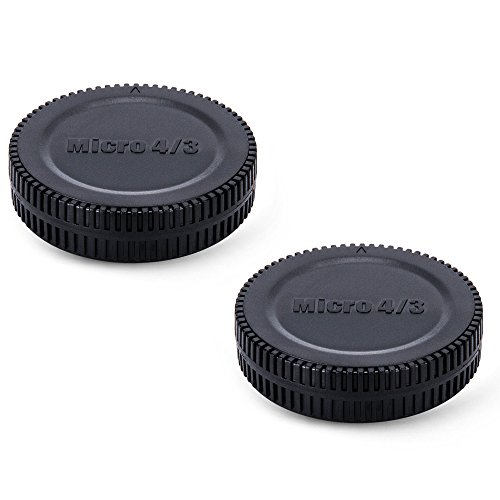JJC Body Cap + Rear Lens Cap Set for Micro Four Thirds System i.e Olympus, Panasonic M4/3 Mirrorless Cameras and Lens (2 Sets) from JJC
