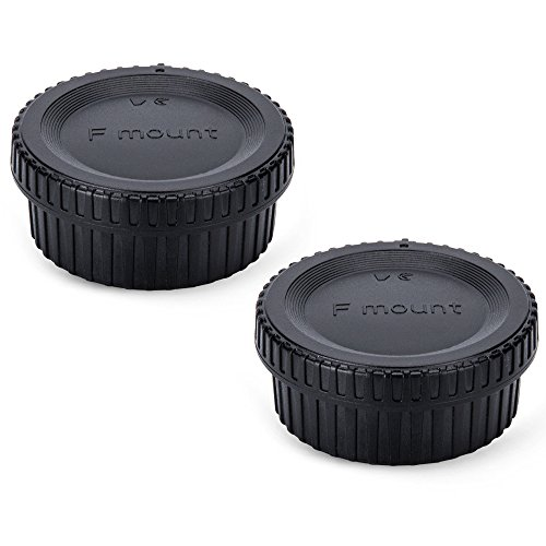 JJC Body Cap and Rear Lens Cap Set for Nikon F Mount DSLR Cameras and F Mount Lens System (2 Sets) from JJC