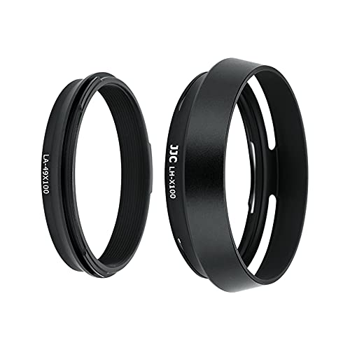 JJC Dedicated Lens Adapter and Hood for Fujifilm Finepix X100V, X100F, X100T, X100S, X100, X70 (LH-JX100 Black) from JJC