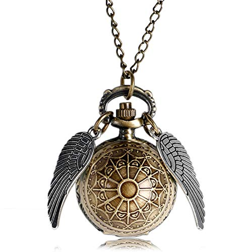 Boy's Pocket Watch, Bronze Ball Shape with Wings Quartz Necklace Pocket Watch, Gift for Men - JLySHOP from JLySHOP
