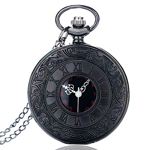 Classic Pocket Watch, Full Black Roman Numerals Dial Pocket Watches for Men, Pocket Watch Gift - JLySHOP from JLySHOP