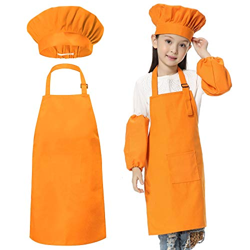 JLySHOP Childrens Chef Outfit - Kids Cooking Apron, Kitchen Cooking Baking Wear Those Chefs in Training, Painting, Diy Aprons for Girls Boys (6-12 Year, Orange) from JLySHOP