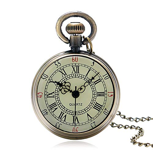 Men's Pocket Watch, Antique Bronze Roman Numerals Dial Pocket Watch, Gifts for Men from JLySHOP