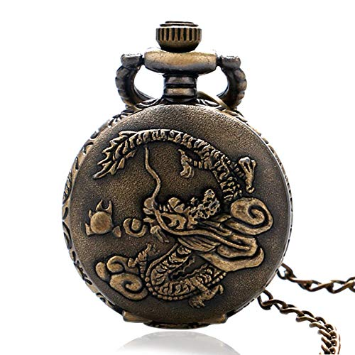 Men's Pocket Watch, Antique Style China Zodiac Dragon Lucky Analog Quartz Pocket Watch, Gifts for Men from JLySHOP