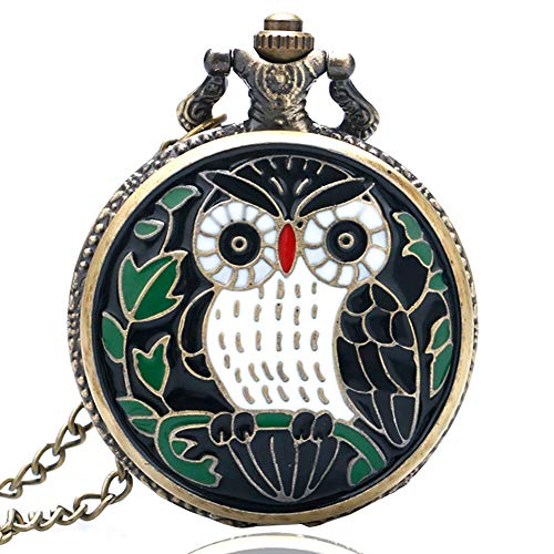 Men's Pocket Watch, Cartoon Owl Pocket Watch, Necklace with Chain, Gift for Men - JLySHOP from JLySHOP