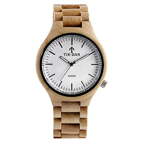 Men's Wooden Wristwatches, Full Wood Simple Design Bamboo Watch, Casual Business Bamboo Wristwatch Bracelet from JLySHOP