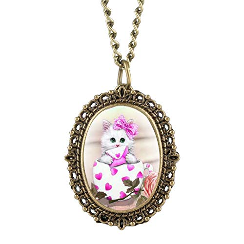 Pink Kitty Patch Pocket Watch for Girl, Bronze Quartz Pocket Watches for Women, Lovely Necklace Pocket Watch for Friends - JLySHOP from JLySHOP