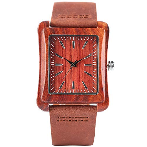 Rectangle Natural Bamboo Watch, Luxury Mens Wooden Watch, Bamboo Wristwatch Bracelet from JLySHOP