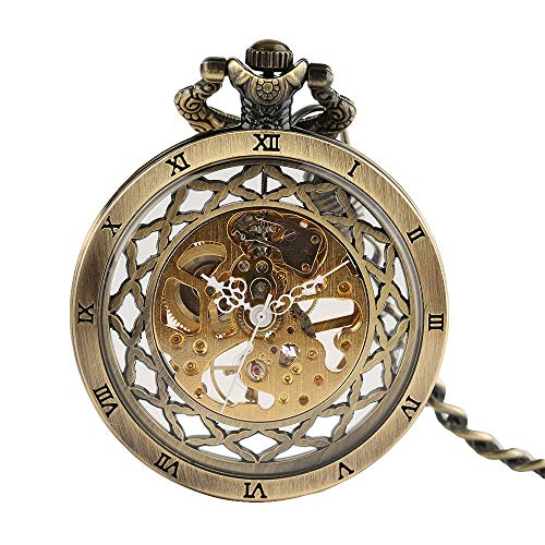 Retro Men's Mechanical Pocket Watch, Classic Hollow Roman Number Pocket Watch - JLySHOP from JLySHOP