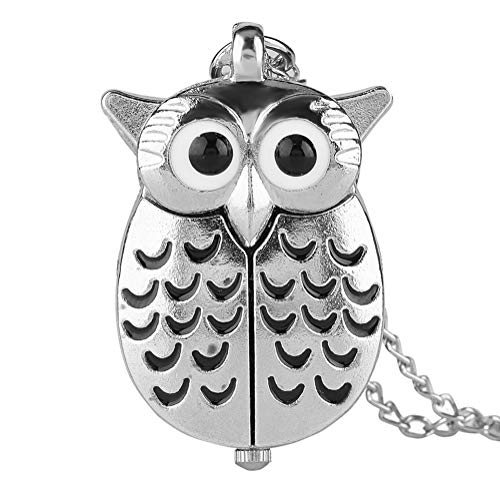 Retro Pocket Watch, Cartoon Silver Owl Pocket Watch, Gift for Boys Girls Necklaces Pendants - JLySHOP from JLySHOP