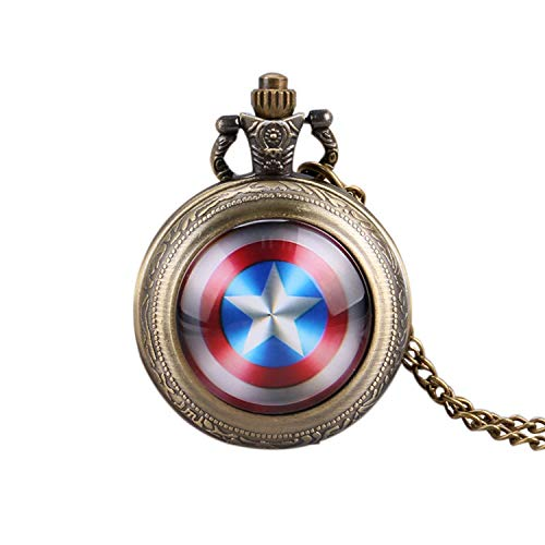 Trendy Pocket Watch, Captain America's Shield Quartz Pocket Watch for Men, Star Pendant Mini Pocket Watch Gift from JLySHOP