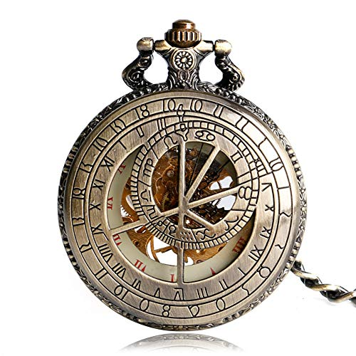 Vintage Pocket Watch, Bronze Hand Winding Mechanical Pocket Watch, Chain Gift for Men from JLySHOP