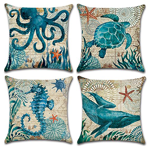 JOTOM Soft Cotton Linen Throw Pillow Case Sofa Car Square Cushion Cover Home Bed Decor 45 x 45cm, Set of 4 (Marine Animal 2) from JOTOM