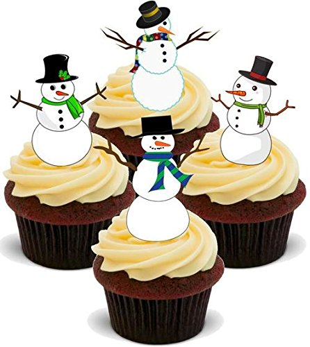 Christmas Snowman Mix- Standups 12 Edible Standup Premium Wafer Cake Toppers from JPS