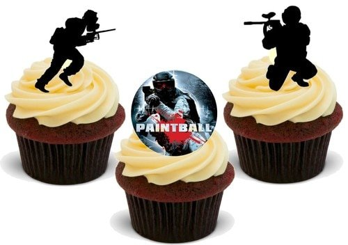 Paintball Trio Mix - 12 Edible Stand Up Premium Wafer Card Cake Toppers Decorations from JPS