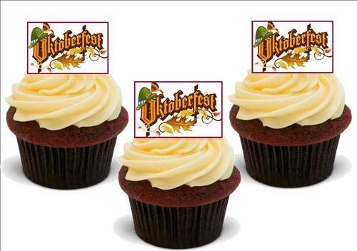 Oktoberfest Design 1 - 12 Edible Stand Up Premium Wafer Card Cake Toppers Decorations from JPS