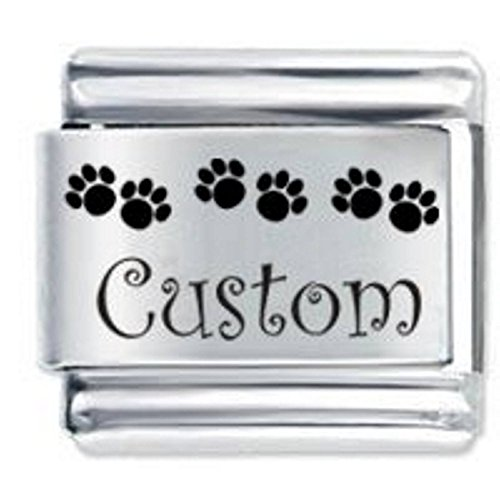 Personalised Custom Made Paw Prints Italian Charm - fits Nomination Charm Bracelets. from JSC Jewellery