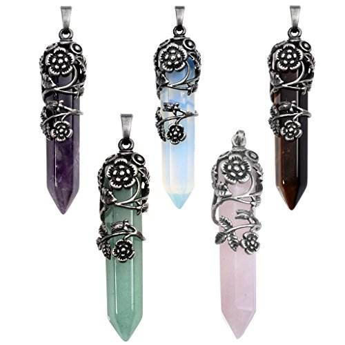 JSDDE Vintage Flower Wrap Natural Quartz Stone Healing Crystal Pendant Necklace 5pcs from JSDDE