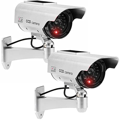 JUSTOP Twin Pack Dummy CCTV Camera Outdoor / Indoor Waterproof With Reality LED Light Solar Or Battery Powered - Silver from JUSTOP