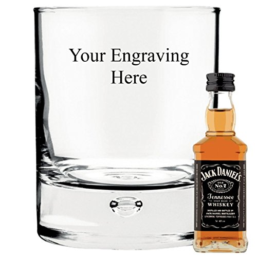Personalised Engraved 10 oz Bubble in base glass, with 50ml Jack Daniels Whisky in Silk Lined Gift box from Jack Daniel