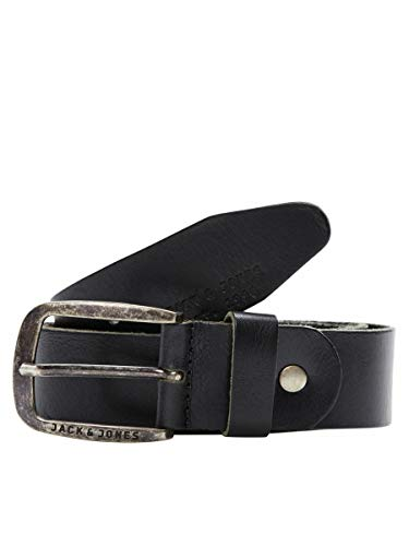 JACK & JONES JJIPAUL JJLEATHER BELT NOOS, Men's Belt, Black, 90 cm (Manufacturer's Size: 90) from Jack & Jones