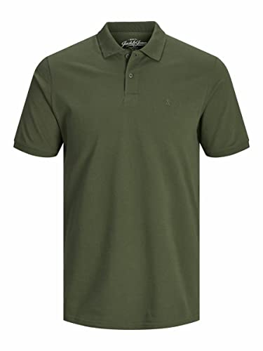 JACK & JONES Men's Jjebasic Polo Ss Noos Shirt, Green (Olive Night Detail: Slim Fit), Small from Jack & Jones