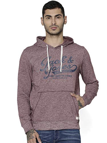 JACK & JONES Men's Jjepanther Sweat Hood Noos Sweatshirt, Red (Port Royale Detail: Reg Fit - Melange), Small from Jack & Jones