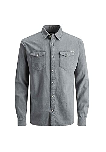 JACK & JONES Men's Jjesheridan Shirt L/S Denim, Grey (Light Grey Denim Fit:Slim), Large from Jack & Jones