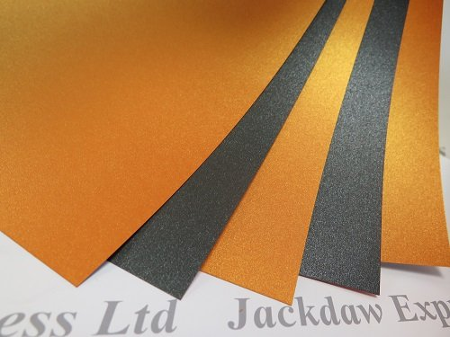 Orange & Black Pearlescent Shimmer Card 2-Sided A4 260gsm Cardmaking Craft AM798 from Jackdaw Express