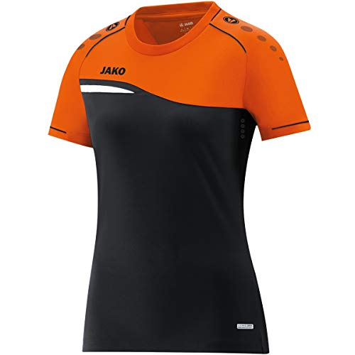 JAKO Women's Competition 2.0 T-Shirt, Schwarz/Neonorange, 34 (EU) from JAKO
