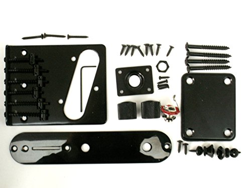 Telecaster guitar TL body black hardware parts bridge jack control plate neck plate screws knobs from Janika