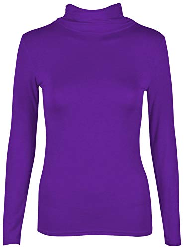 janisramone Womens Ladies New Plain Turtle Polo Roll Neck Long Sleeve Stretch Jumper T-Shirt Tee Top Purple from janisramone