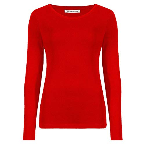 janisramone Womens Ladies New Round Neck Long Sleeve Plain Casual Stretchy Tee Basic Slim Fit T-Shirt Top Red from janisramone