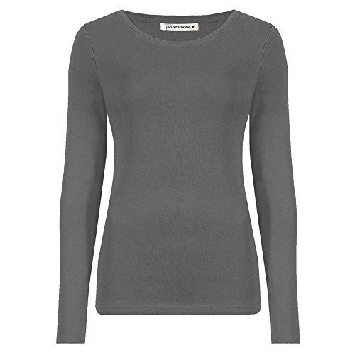 janisramone Womens Ladies New Round Neck Long Sleeve Plain Casual Stretchy Tee Basic Slim Fit T-Shirt Top Charcoal from janisramone