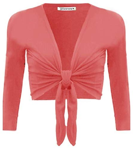 janisramone Womens New Plain Bolero Front Tie Shrug Ladies Cropped Long Sleeve Stretch Cardigan Top Coral from janisramone