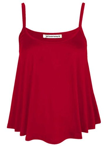janisramone New Womens Ladies Plain Swing Vest Sleeveless Flared Strappy Cami Top Plus Size from janisramone