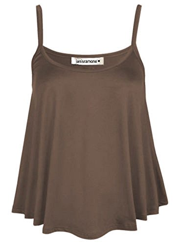 janisramone New Womens Ladies Plain Swing Vest Sleeveless Flared Strappy Cami Top Plus Size Brown from janisramone