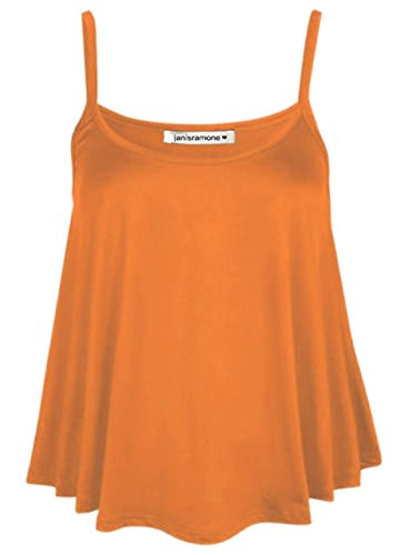janisramone Womens Ladies New Plain Sleeveless Swing Strappy Camisole Cami Vest Plus Size Flared Mini Top Orange from janisramone