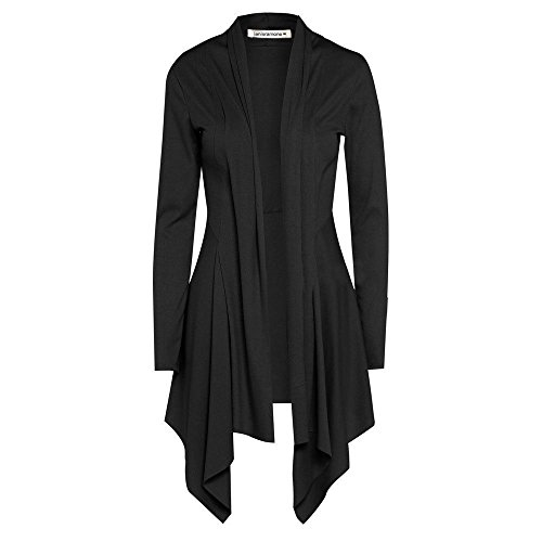 janisramone Womens Ladies New Open Front Plain Long Sleeve Ribbed Waterfall Cardigan Drape Coat Top Black from janisramone