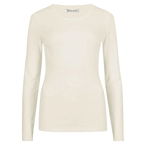 janisramone Womens Ladies New Round Neck Long Sleeve Plain Casual Stretchy Tee Basic Slim Fit T-Shirt Top Cream from janisramone