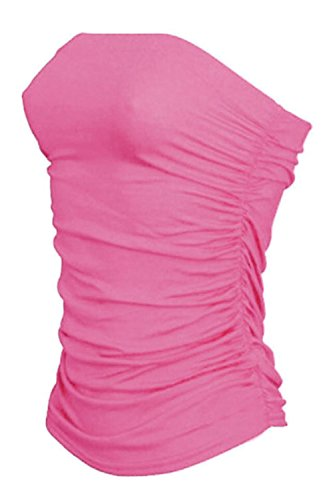 janisramone Womens New Boobtube Bandeau Strapless Top Ladies Both Side Ruched Crop Bra Vest Top Baby Pink from janisramone