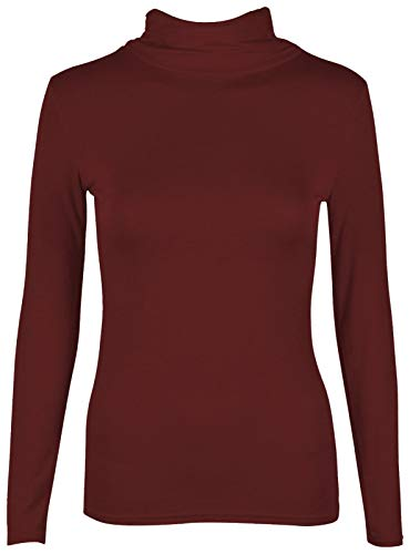 janisramone Womens Ladies New Plain Turtle Polo Roll Neck Long Sleeve Stretch Jumper T-Shirt Tee Top Wine from janisramone
