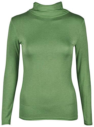 janisramone Womens Ladies New Plain Turtle Polo Roll Neck Long Sleeve Stretch Jumper T-Shirt Tee Top Khaki from janisramone